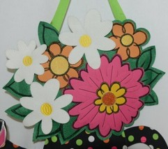 FabriCreations 2375 Be Happy Fabric Hanging Watering Can With Flower Bouquet image 2