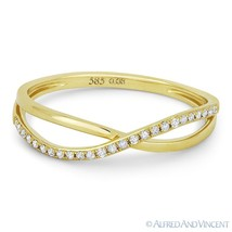 0.08ct Round Cut Diamond Right-Hand Overlap Loop Fashion Ring in 14k Yellow Gold - €237,97 EUR