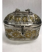 Vintage  pewter Metal goldtone case hinged lid container hole bottom bed... - $52.46