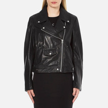 NEW McQ Alexander McQueen Women's Black Leather Oversized Biker Jacket S... - $375.00