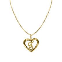 14k Yellow Gold Diamond-cut Heart-shaped Initial Letter 'T' Pendant  Rol... - $184.00+