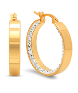 STEELTIME 18K Gold Plated Stainless Steel Simulated diamond inlay hoop e... - $17.99