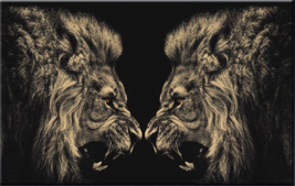 "Large Modern Print On Canvas Colorful Lion Fight Portrait Wall Art Animal 24x36"" - $39.59"