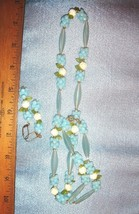 VTG ART DECO BLUE LUCITE FLORAL FLOWER FAUX PEARL NECKLACE LEVERBACK EAR... - $147.99