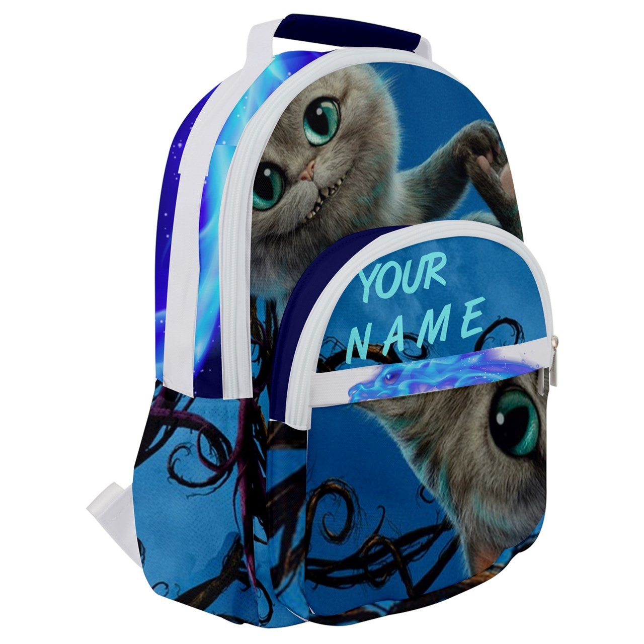 Primary image for Rounded Multi Pocket Backpack kids school bag custom personal name cheshire cat