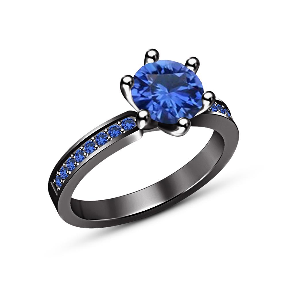 Blue Sapphire Engagement Wedding Bridal Set Ring Black Gold Finish 925 Silver