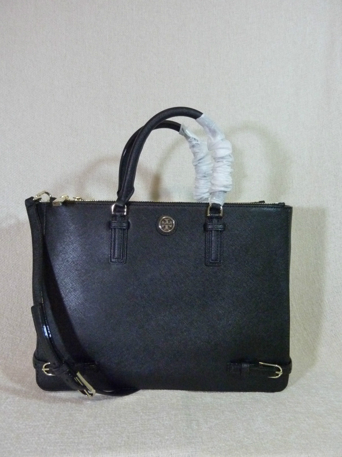 NWT Tory Burch Black Saffiano Leather Large Robinson Multi Tote + Wallet $820