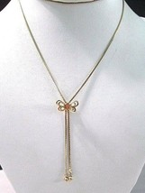 "Simmons Long Necklace 1970'S ""S"" Chain With Butterfly Bolo Lariat Dangles 12K Gf - $29.00"