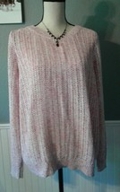 Women's Talbots Pink and White Loose Knit Spring Sweater, Size: XL   NEW - $29.95