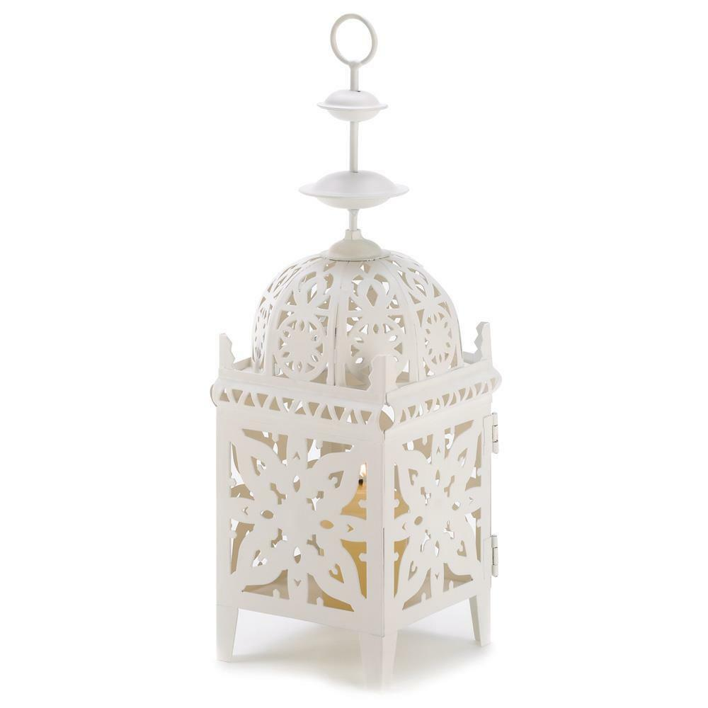 "White Moroccan Marrakech CANDLE HOLDER LANTERN Table Centerpiece 11.5"" NIP 13246"