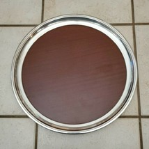 "Crescent Silver Plated Brown Bar Serving Tray 16"" Mid Century Formica MCM - $42.08"