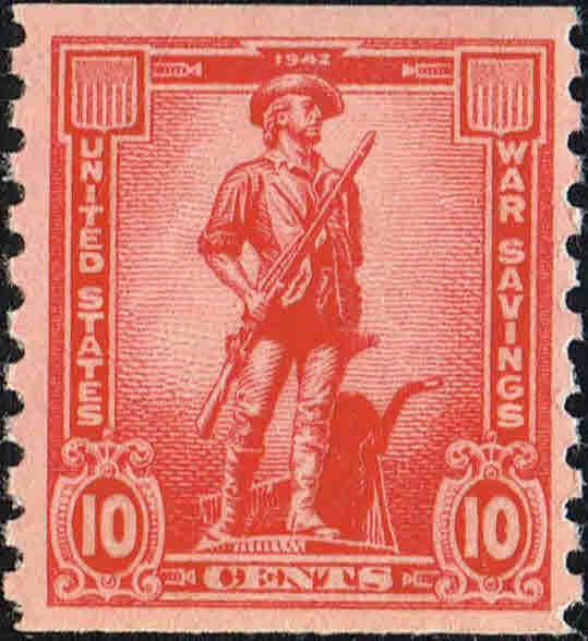 1943 10c War Saving Stamp - Minute Man, Coil, Rose Red Scott WS12 Mint F/VF NH