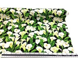 Lillies Floral Black White 100% Cotton High Quality Fabric Material 3 Sizes - $3.06+