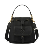 Tory Burch Scout Drawsting Crossbody Nylon Bag Black Color Free Gift Fre... - $198.75