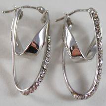 Ohrringe aus Weißgold 750 18K Doppeltes Gleisoval Kreis Gewellt,3.2 cm,Zirkonia image 3