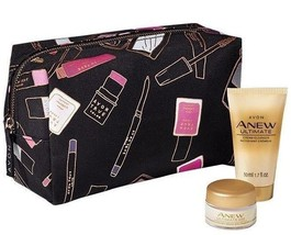 Avon Anew Ultimate Day Cream  & Cleanser Travel Size + Cosmetic Makeup BAG - $13.21