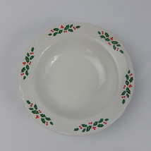 CORNING DESIGNS Winter Holly Rimmed Cereal Bowl Scalloped Edge Christmas - $7.91
