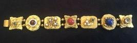 "Vintage ART Jeweled Gold Tone Bracelet 7 3/8"" Long - $42.87"
