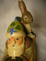 Vaillanc/2ourt Folk Art Spring Break Santa in a Car with  Bunny Signed no.18018 image 3