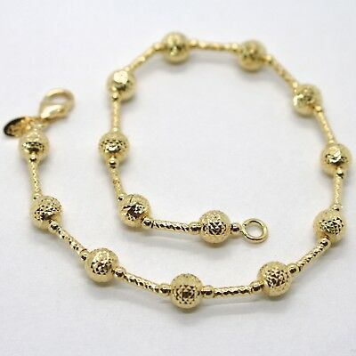 18K YELLOW GOLD BRACELET FINELY WORKED 5 MM BALL SPHERE AND TUBE LINK 7.5 INCHES