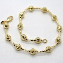 18K YELLOW GOLD BRACELET FINELY WORKED 5 MM BALL SPHERE AND TUBE LINK 7.5 INCHES image 1