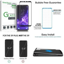 Amfilm Glass Screen Protector For Samsung Galaxy S9 Plus, 3D Curved Temp... - $14.84