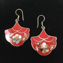 RED ENAMEL SHELL FLOWER EARRINGS DANGLE HOOKS Mexico Silver Vintage - $28.50