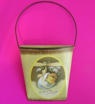 Rustic Yellow Tin Wall Pocket Bucket With Chick To Greet You At Easter NWOT - $14.51