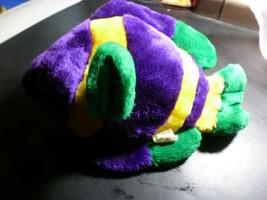Vintage Clown Fish Yellow Green Purple Colorful Soft Plush Stuffed Animal Toy - $14.84