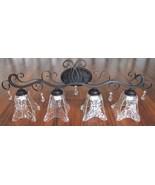 Bronze Bath Vanity Decorative Accents Clear Glass Shades Bathroom Wall L... - $169.00