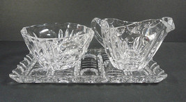 Vintage Crystal Creamer & Sugar Set on Tray - $19.99