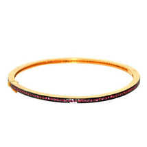 Vintage 14K Gold Tourmaline Gemstone Sleek Bangle 925 Silver Bracelet Je... - $345.95