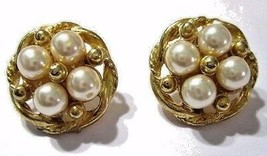 #586 VINTAGE GOLD TONE PLATED METAL AND FAUX PEARL CONSERVATIVE PIERCED ... - $15.00