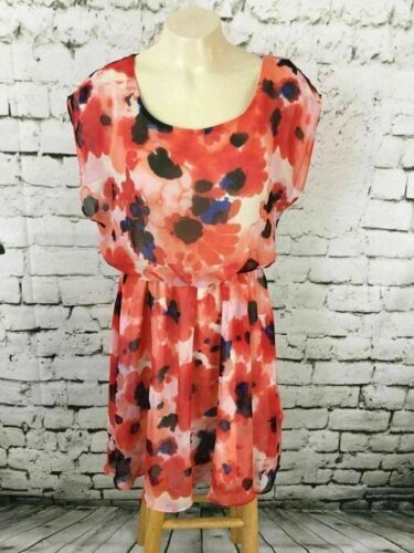 Lush Women's Sz M Dress Orange Floral Sheer Short Sleeve Blouson Skater