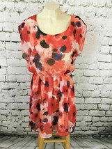 Lush Women's Sz M Dress Orange Floral Sheer Short Sleeve Blouson Skater - $9.89