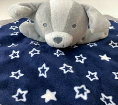 Gray Puppy Dog Lovey Security Blanket Navy Blue Star Silky Carters Child... - $10.88