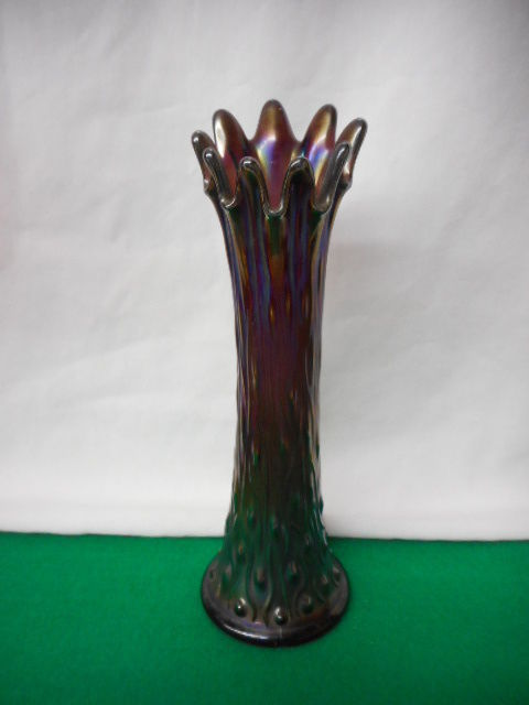 "CARNIVAL GLASS - NORTHWOOD TREE TRUNK   Amethyst 10"" Vase  L@@K!"