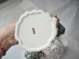 Santa Snowman Christmas Tree Cream & Sugar Collector Set Glazed Ceramic image 4