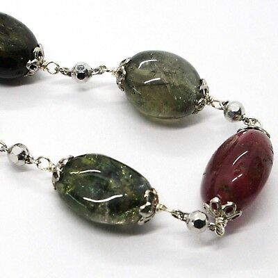 Necklace Silver 925, Tourmaline Ovals, Green and Red, Spheres Faceted