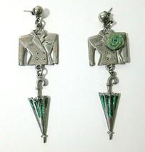 Vtg Silver Tone & Green Suit Jacket Coat & Umbrella Drop Dangle Estate E... - $12.00