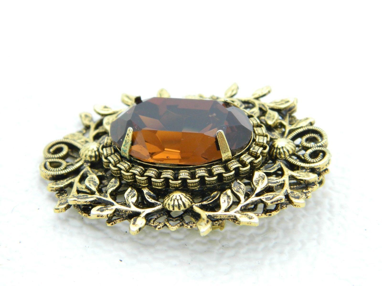 VTG Gold Tone Floral Filigree Topaz Glass Rhinestone Flower Pin Brooch Pendant