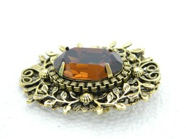 VTG Gold Tone Floral Filigree Topaz Glass Rhinestone Flower Pin Brooch Pendant image 2