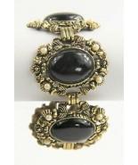 "7"" VINTAGE ESTATE Jewelry CHUNKY BLACK CABOCHON VINTAGE VICTORIAN BRACELET - $45.00"