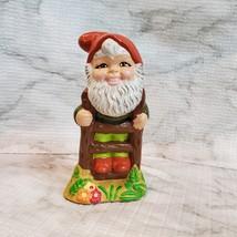 Vintage Garden Gnome, Fairy Garden Decor, Handpainted Ceramic Gnome on Ladder image 4