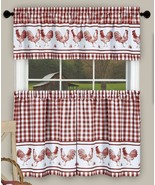 3 pc Curtains Set, ROOSTERS BARNYARD, 58x14 & 58x36, Burgundy by Achim - $17.81