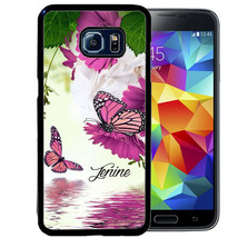 PERSONALIZED CASE FOR SAMSUNG S9 S8 S7 S7 S6 PLUS RUBBER PURPLE BUTTERFLY - $13.98