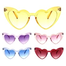Womens Translucent Heart Shape Valentines Plastic Cat Eye Sunglasses - $9.95