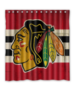 Chicago Black Hawks 05 Shower Curtain Waterproof Polyester Fabric For Ba... - $33.30+