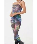 Forever 21 Hueman Sheer Mesh Space Cosmic Unitard Jumpsuit Catsuit One P... - $18.61
