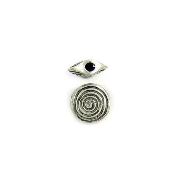 SPIRAL FLATTENED ROUND FINE PEWTER CAST BEAD - 10.5x11x4mm; Hole 2mm